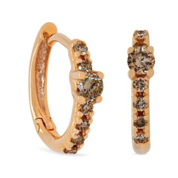 Rose Gold earrings with diamonds and brown diamonds
