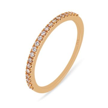 Rose gold wedding band with diamonds 0.15 carats