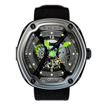 Dietrich O.Time-1 Automatic Steel Skeleton Dial Green hands 48mm