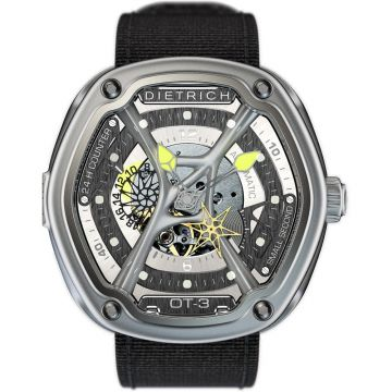 Dietrich O.Time-3 Automatic Steel Skeleton Dial Yellow hands 48mm