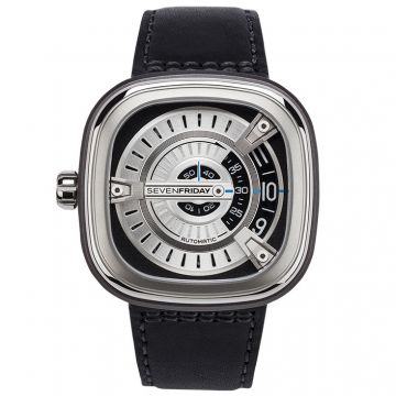 SevenFriday M Series Automatic M1/01 Silver Dial Black Leather 47mm