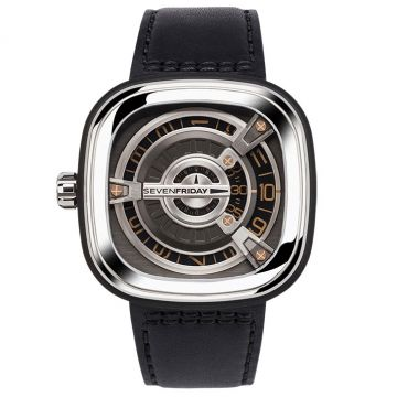 SevenFriday M Series Automatic M1/03 Silver Dial Black Leather 47mm