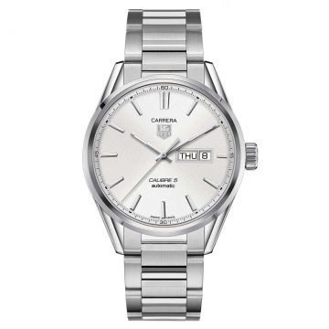 Tag Heuer Carrera Steel Automatic Calibre 5 Day-Date Silver opalin Dial 41 mm