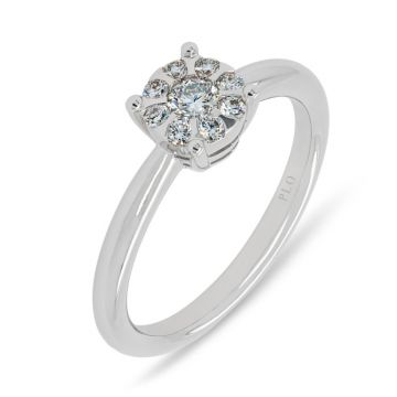 White gold solitaire ring with diamonds 0.27 carats