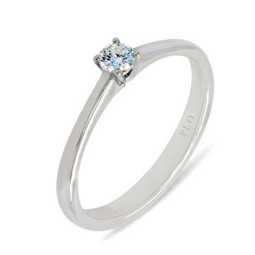 White gold solitaire ring diamond 0.13 carats Color G Clarity VS