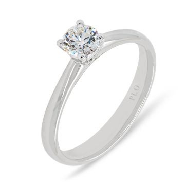 White gold solitaire ring diamond 0.40 carats G Color Clarity VS