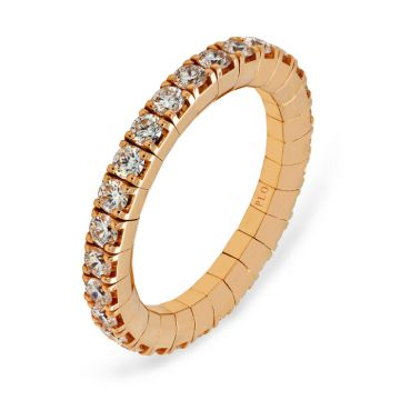 Rose gold elastic ring with diamonds 1.28 carats