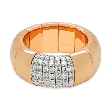 Rose Gold elastic ring and diamonds 0.68 carats