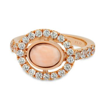 Ring in pink gold, pink coral and diamonds 1.07 carats
