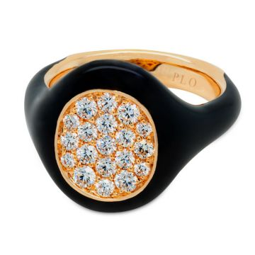 Ring in rose gold, black enamel and diamonds 0.48 carats