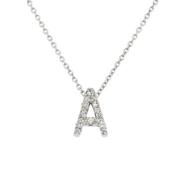 """White Gold Pendant with Diamond Initial """"A"""""""