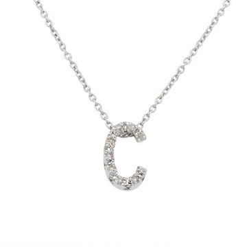 """White Gold Pendant with diamond initial """"C"""" 0.04 carats"""
