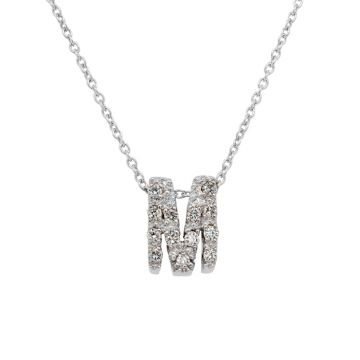 "White Gold Pendant Diamond Initial ""M"""