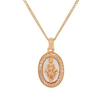 Rose Gold Pendant with Miraculous Virgin, Mother of Pearl diamonds 0.11 carats