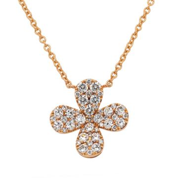 Rose Gold Pendant with diamond cross 0.98 carats