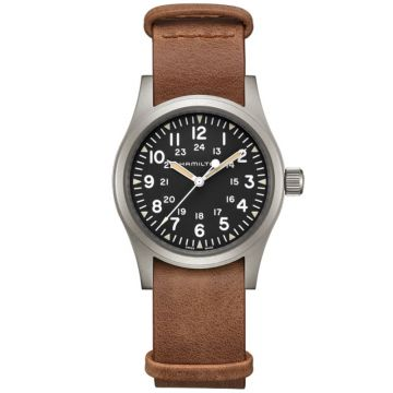 Hamilton Khaki Field Mechanical Leather Strap Black Dial 38mm