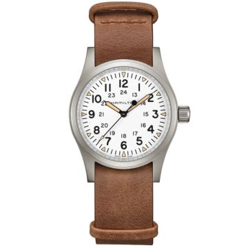 Hamilton Khaki Field Mechanical White Dial Leather Strap 38mm