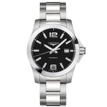 Longines Conquest Quartz Black Dial 41mm L3.759.4.58.6