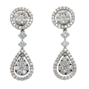White Gold bridal detachable earrings with diamonds 1.66 carats