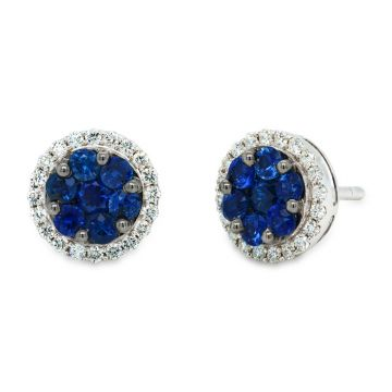 White Gold detachable earrings with sapphires and diamonds 0.27 carats
