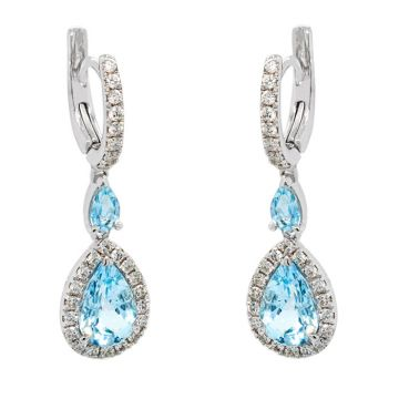 White gold earrings with diamonds 0.64 carats and Aquamarines 2.54 carats
