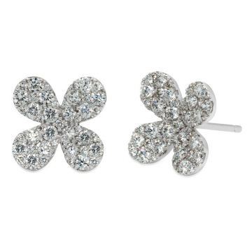 White Gold earrings with diamonds flower 1.19 carats