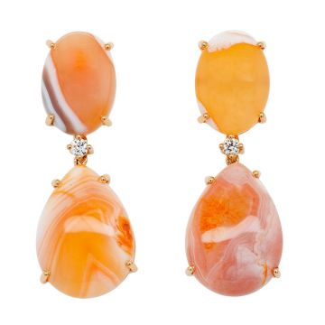 Rose gold earrings, agates and diamonds with 0.10 carats