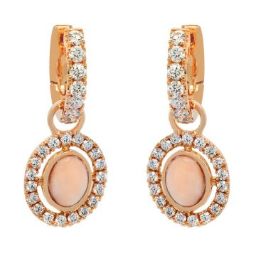 Rose Gold earrings, pink coral and diamonds 1.83 carats