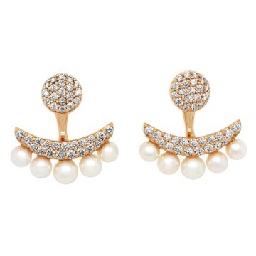 Rose Gold earrings with pearls diamonds 0.98 carats