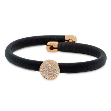Black leather bracelet with rose gold and diamonds 0.47 carats