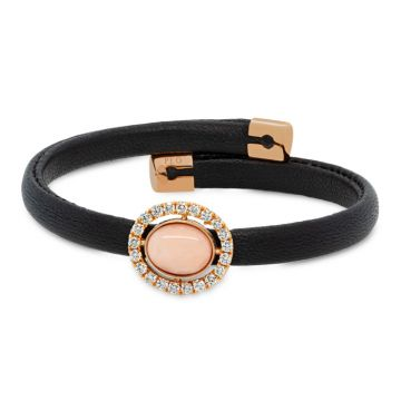 Black leather bracelet with rose gold, pink coral and diamonds