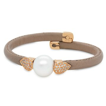 Beige leather bracelet rose gold, Australian pearl and diamonds