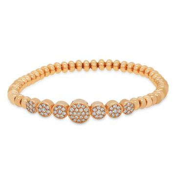 Rose Gold Elastic Bracelet with diamonds 0.13 carats