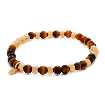Elastic bracelet with Rose Gold and Tiger Eye