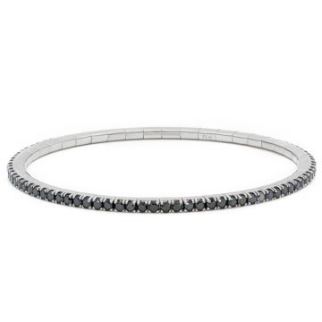 White Gold elastic riviere bracelet with black diamonds 2.60 carats