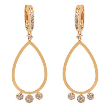 Rose gold earrings with diamonds 0.74 carats
