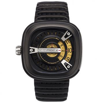 SevenFriday M Series Automatic M2/01 Silver Dial Black Leather 47mm