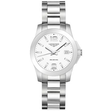 Longines Conquest Quartz White Matt Dial 34mm
