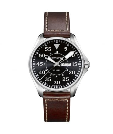 Hamilton Khaki Aviation Pilot Quartz Day Date Leather Strap 42 mm