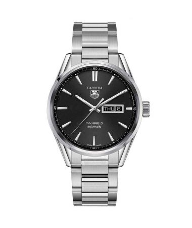 Tag Heuer Carrera Steel Automatic Calibre 5 Day-Date Black Dial 41mm