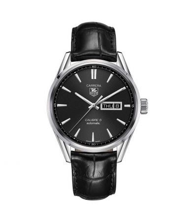 Tag Heuer Carrera Steel Automatic Calibre 5 Day-Date Black Dial Leather Strap 41mm